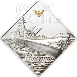 USS MISSOURI Nave Corazzata Moneta Argento 2 Oz 10$ Palau 2008