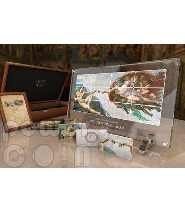CREAZIONE DI ADAMO Michelangelo Cappella Sistina Giants of Art Set 12 Monete Argento 5$ Niue 2013