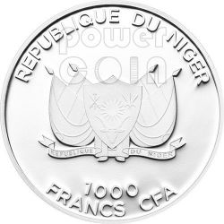 AMERICAN COYOTE Predator Hunters Серебро Монета 1000 Франков Нигер 2013