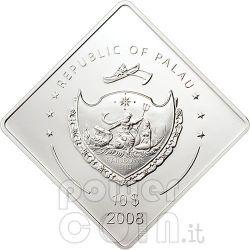 USS MISSOURI Battleship 2 Oz Серебро Монета 10$ Палау 2008