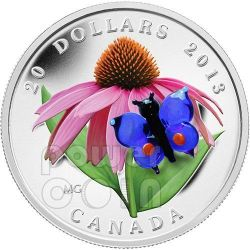 BUTTERFLY Purple Coneflower Venetian Glass Murano Silver Coin 20$ Canada 2013