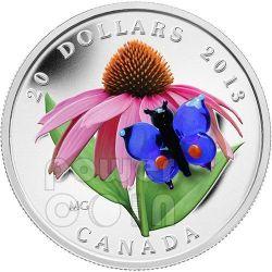 FARFALLA Butterfly Purple Coneflower Vetro Murano Moneta Argento 20$ Canada 2013