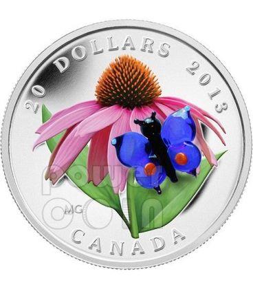 BUTTERFLY Purple Coneflower Venetian Glass Murano Silver Coin 20$ Canada 2013