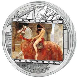 LADY GODIVA John Maler Collier 3 Oz Moneta Argento 20$ Cook Islands 2013
