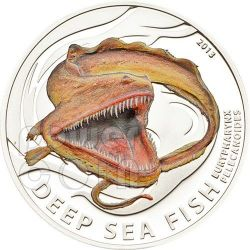 ANGUILLA PELLICANO Deep Sea Fish Pesce Degli Abissi Moneta Argento 2$ Pitcairn Islands 2013