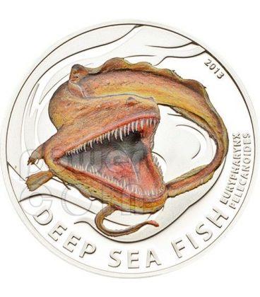 ANGUILLA PELLICANO Deep Sea Fish Pesce Degli Abissi Moneta Argento 2$ Pitcairn Islands 2013
