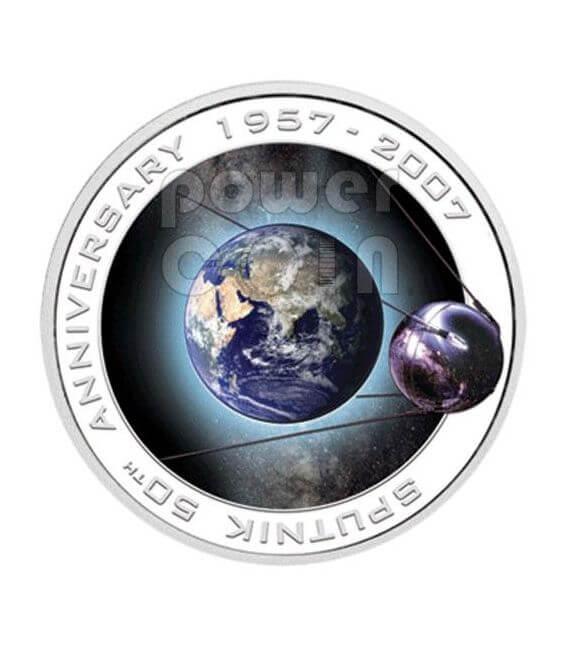 SPUTNIK 50th Anniversary Silber Münze 1$ Cook Islands 2007