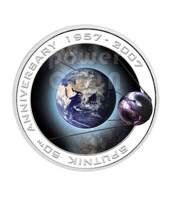 SPUTNIK 50th Anniversary Silver Coin 1$ Cook Islands 2007