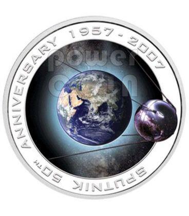 SPUTNIK 50th Anniversary Silver Coin 1$ Cook Islands 2007