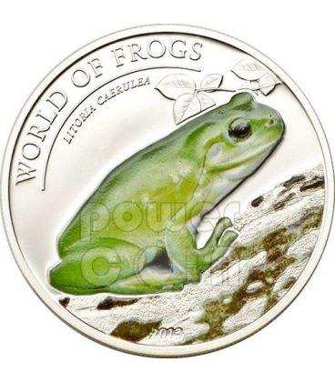 AUSTRALIAN GREEN TREE FROG Litoria Caerulea World Of Frogs Silver Coin 2$ Palau 2013