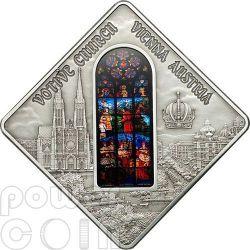 VOTIVE CHURCH Vienna Holy Windows Серебро Монета 10$ Палау 2012