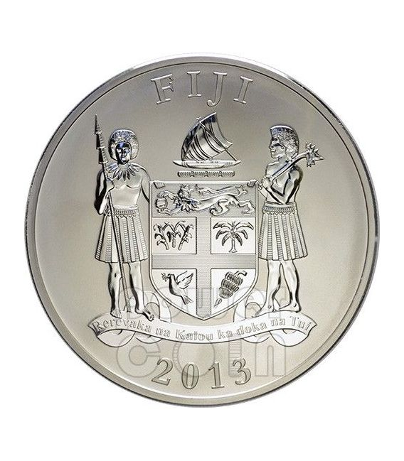 SNAKE RED FIRE Ruby Gemstone 2 Oz Silber Münze 2$ Fiji 2013