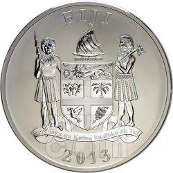 SNAKE RED FIRE Ruby Gemstone 2 Oz Silver Coin 2$ Fiji 2013