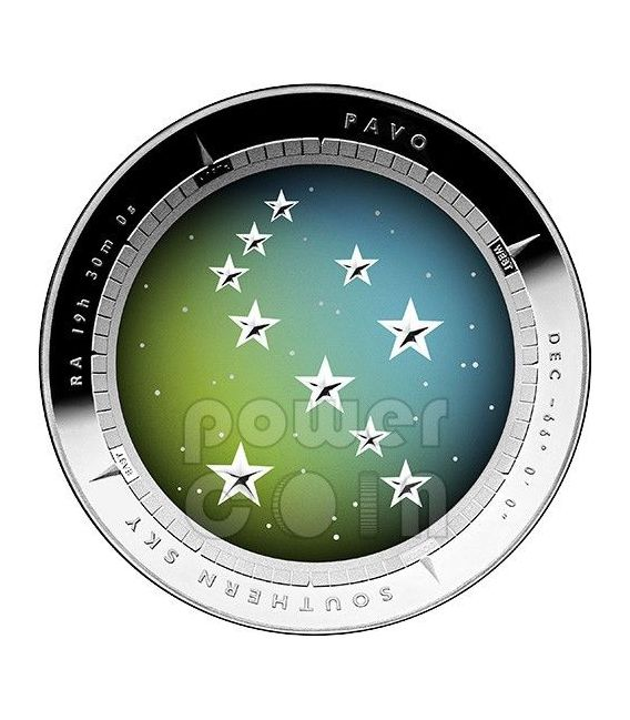 pavo constellation southern sky curved domed silver proof