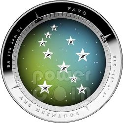 PAVO CONSTELLATION Southern Sky Curved Domed Silber Proof Münze 5$ Australia 2013