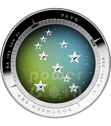 PAVO CONSTELLATION Southern Sky Curved Domed Silver Proof Coin 5$ Australia 2013