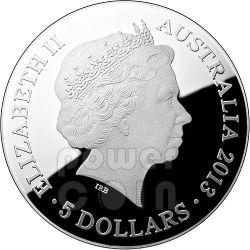 PAVO CONSTELLATION Southern Sky Curved Domed Plata Proof Moneda 5$ Australia 2013