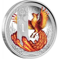 FENICE Creature Mitologiche Mythical Creatures Phoenix Moneta Argento 1$ Tuvalu 2013