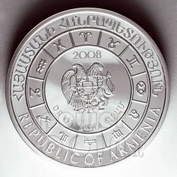AQUARIUS Horoscope Zodiac Zircon Silver Coin Armenia 2008