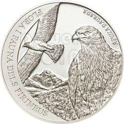 GOLDEN EAGLE Pyrenees Wildlife Серебро Монета 5D Андора 2011