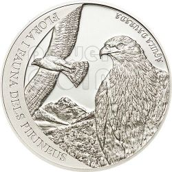 GOLDEN EAGLE Pyrenees Wildlife Silver Coin 5D Andorra 2011