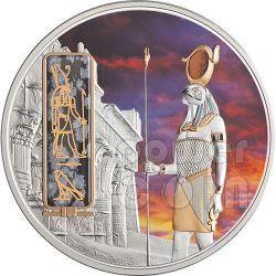 HORUS Egypt God Silver Palladium Gold Obsidian Gemstone Coin 2 Oz 50$ Fiji 2012