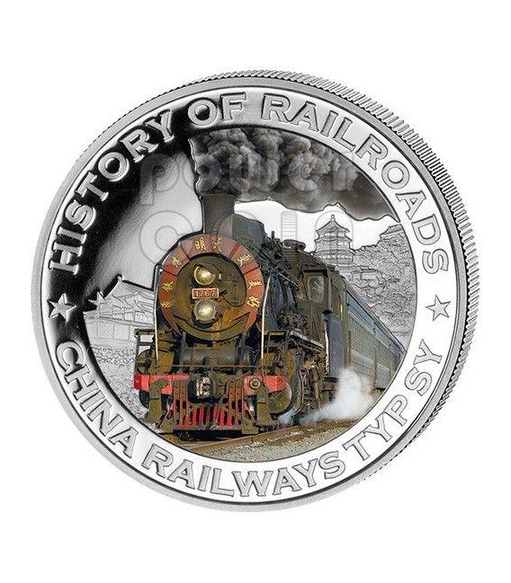 CHINA RAILWAYS TYP SY Locomotiva Vapore Ferrovia Moneta Argento 5$ Liberia 2011