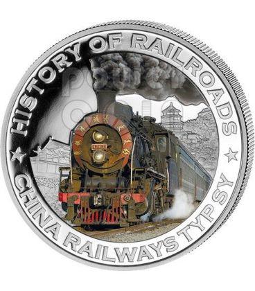 CHINA RAILWAYS TYP SY History Of Railroads Train Silver Coin 5$ Liberia 2011
