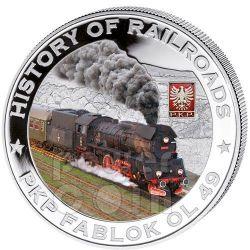 PKP FABLOK OL 49 History Of Railroads Train Серебро Монета 5$ Либерия 2011