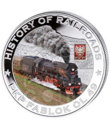 PKP FABLOK OL 49 Locomotiva Vapore Ferrovia Moneta Argento 5$ Liberia 2011