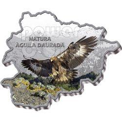 GOLDEN EAGLE Nature Treasure of Андора Map Shaped Серебро Монета 10D Андора 2013