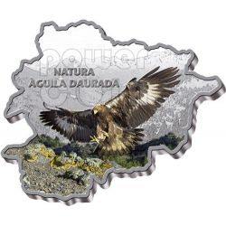 GOLDEN EAGLE Nature Treasure of Andorra Map Shaped Silver Coin 10D Andorra 2013