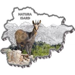 CHAMOIS Nature Treasure of Andorra Map Shaped Moneda Plata 10D Andorra 2013