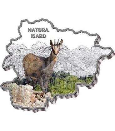 CHAMOIS Nature Treasure of Andorra Map Shaped Silver Coin 10D Andorra 2013