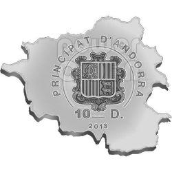 CHAMOIS Nature Treasure of Андора Map Shaped Серебро Монета 10D Андора 2013