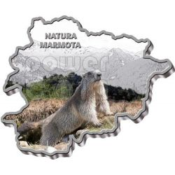 ALPINE MARMOT Nature Treasure of Andorra Map Shaped Silber Münze 10D Andorra 2013