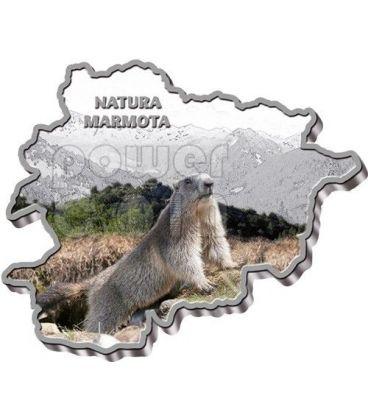 ALPINE MARMOT Nature Treasure of Andorra Map Shaped Silver Coin 10D Andorra 2013