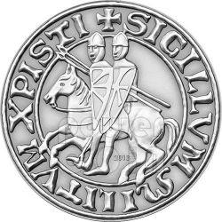 KNIGHTS TEMPLAR Masonic Seal Antique Finish Plata Plated Moneda 1$ Palau 2013
