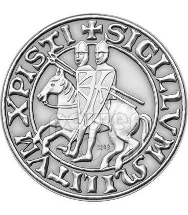 KNIGHTS TEMPLAR Masonic Seal Antique Finish Silver Plated Coin 1$ Palau 2013