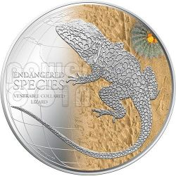 LUCERTOLA DAL COLLARE Venerable Collared Lizard Endangered Species Moneta Argento 2$ Niue 2013