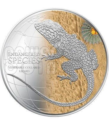 LUCERTOLA DAL COLLARE Venerable Collared Lizard Endangered Species Moneta Argento 2$ Niue 2013