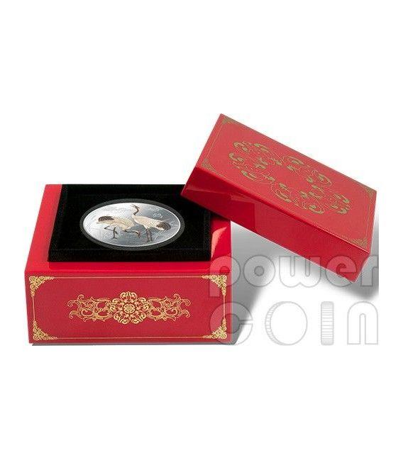 FENG SHUI CRANES Gru Giapponese Moneta Argento 2$ Niue 2013