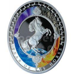 HORSE Five Elements Lunar Year 1 Oz Silver Coin 2$ Tokelau 2014