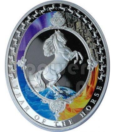 CAVALLO Horse Lunar Five Elements Year Moneta Argento 2$ Tokelau 2014