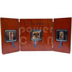 TRITTICO DEL GIUDIZIO UNIVERSALE Hans Memling Set 3 Monete Argento 1$ 2$ Tokelau 2013