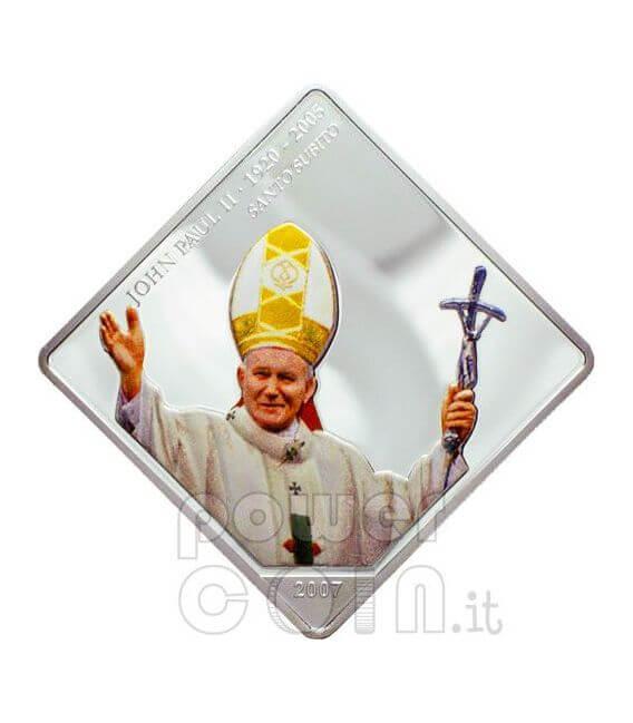 SANTO SUBITO Pope John Paul II Silber Münze 5$ Liberia 2007