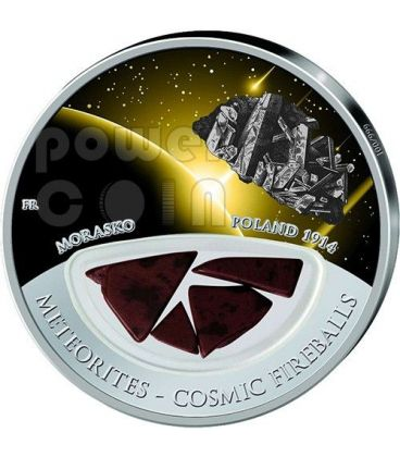METEORITE MORASKO Cosmic Fireballs Silver Proof Locket Coin 10$ Fiji 2013