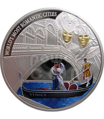VENICE World Most Romantic Cities Silver Coin 1$ Cook Islands 2013