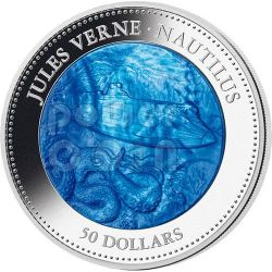 NAUTILUS Jules Verne Captain Nemo Mother of Pearl 5 Oz Moneda Plata 50$ Cook Islands 2014
