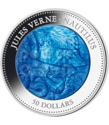 NAUTILUS Jules Verne Captain Nemo Mother of Pearl 5 Oz Silver Coin 50$ Cook Islands 2014